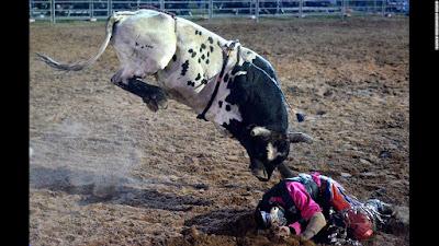 Matt Boland Falling Off A Bull in Cunnamulla Australia