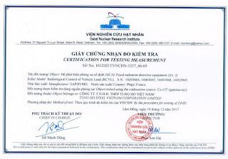 Giấy chứng nhận đo kiểm Thép Tung Ho