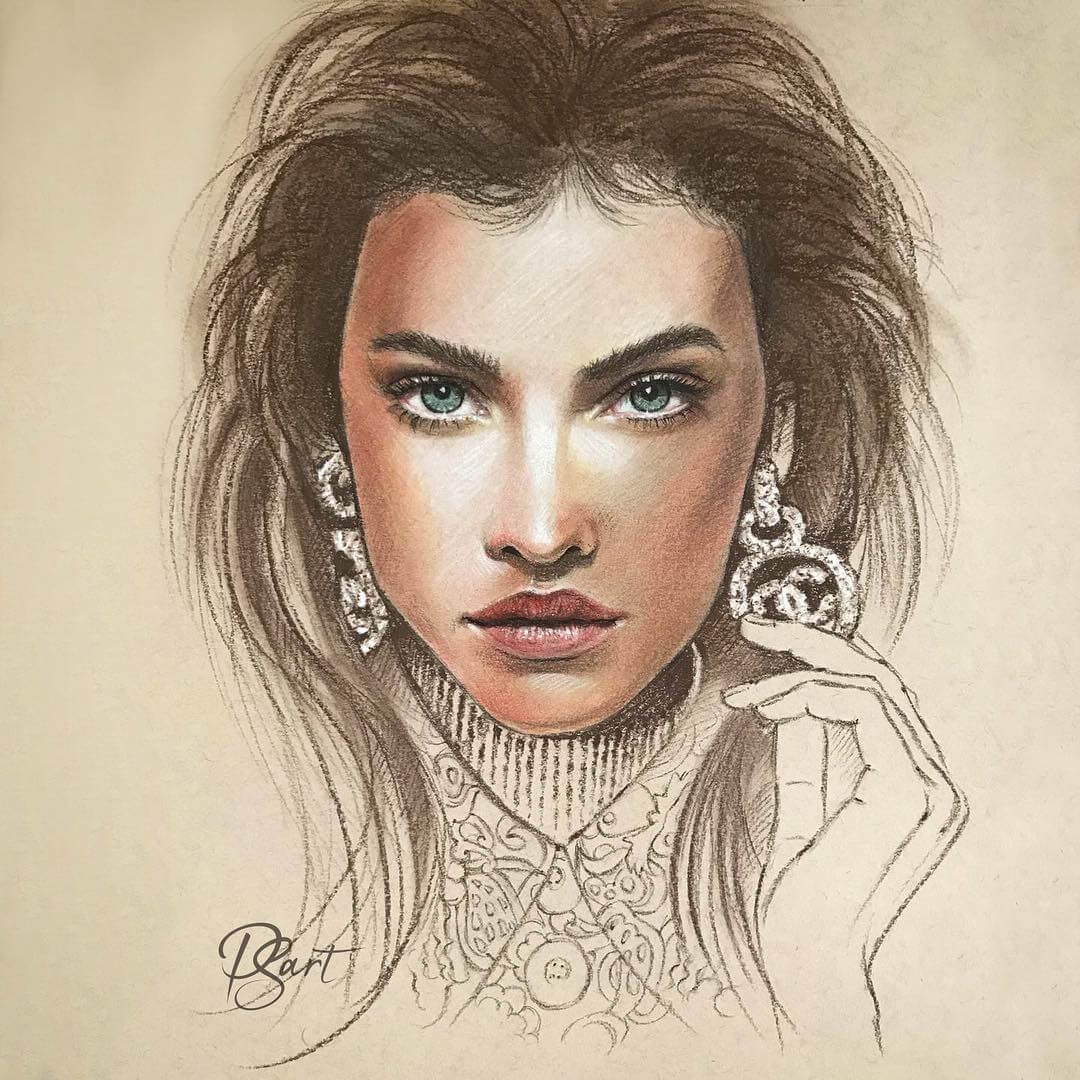 11-Barbara-Palvin-Pepper-Strokes-Traditional-Drawings-Pencils-and-Pens-www-designstack-co