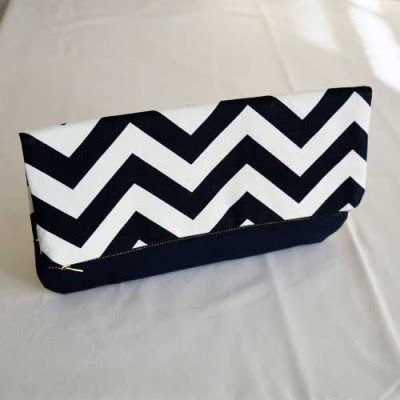 Chole Clutch Black Cheveron