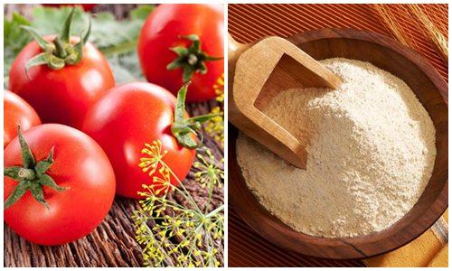Làm trắng da bằng bột gạo và cà chua