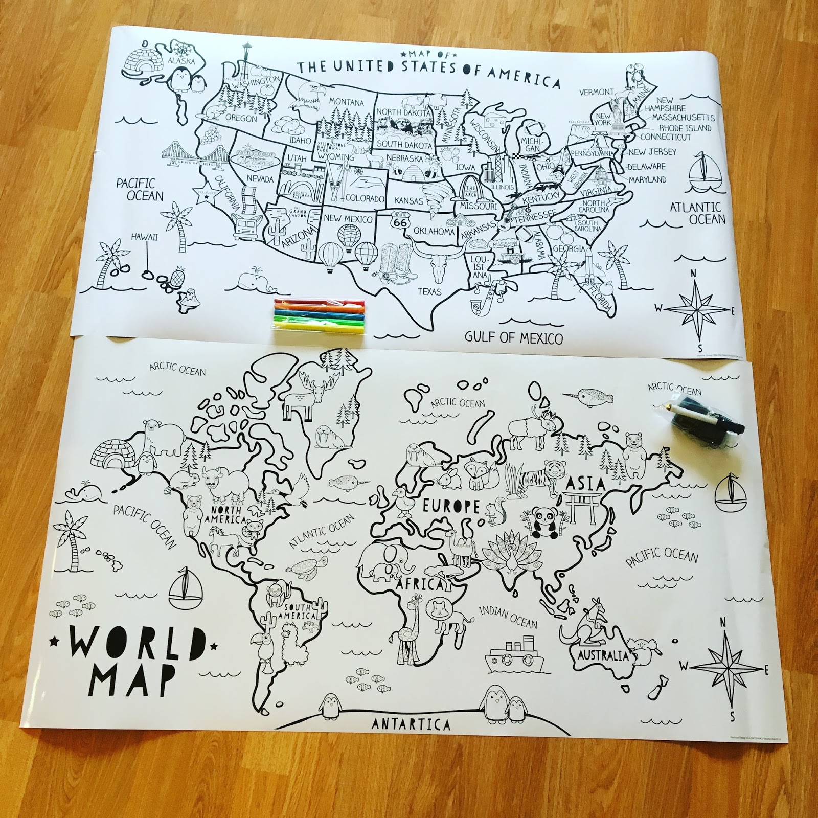 maps from the target dollar spot the us map is paper to color in and the world map is on whiteboard paper