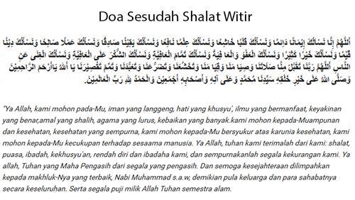 Doa Shalat Witir