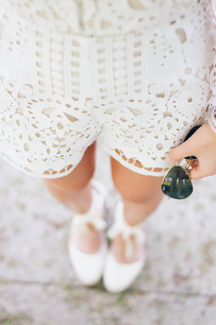 white lace romper and soludos wedges