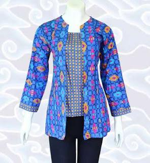 Baju atasan batik wanita kombinasi celana panjang