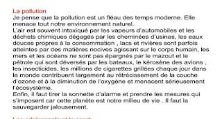 بحث حول التلوث باللغة الفرنسية بأسلوب حجاجي للسنة رابعة متوسط