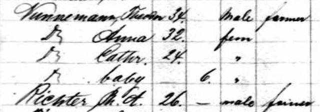 1867 passenger list Baltic ship Theodore Nunneman Anna Richter Nunnemann Catherine Nunnemann Mamie Nunnemann 1867