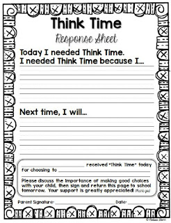 Think Time Response Sheet for Primary Grades