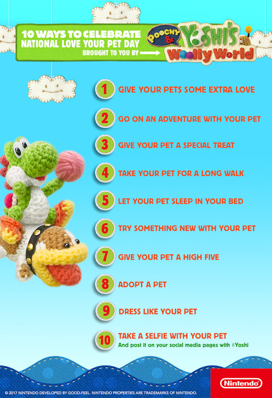 Nintendo's Poochy and Yoshi - 10 Ways to Celebrate National Love Your Pet Day!