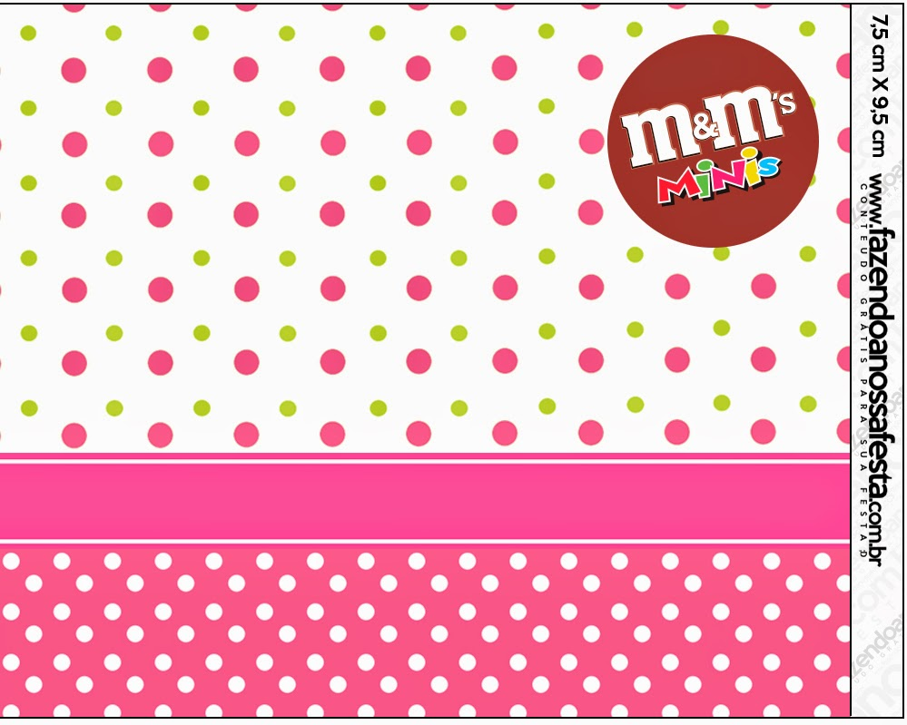 Pink, Green and White Polka Dot Free Printable M&M Labels.