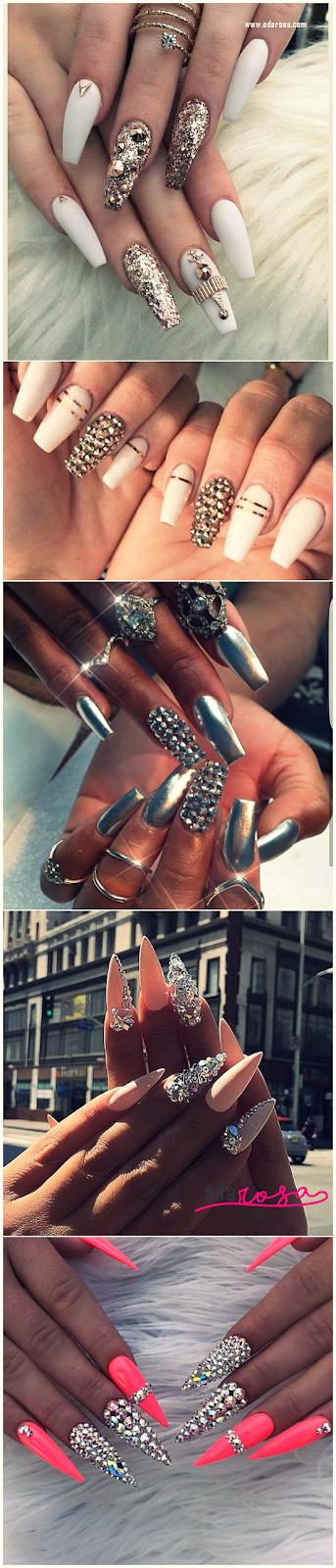 decoração de unhas com pedras e glitter