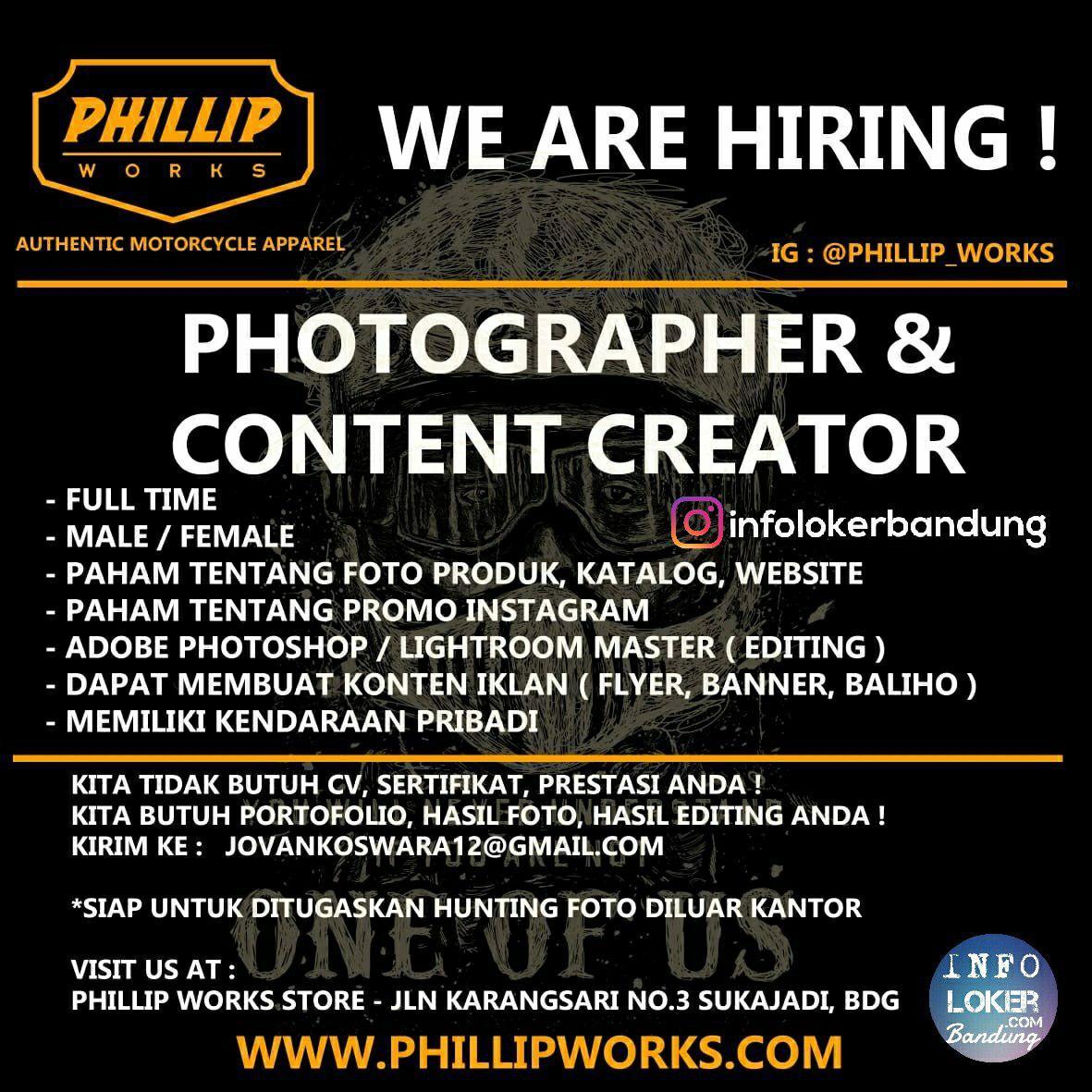 Lowongan Kerja Photographer & Content Creator Phillip Works Bandung