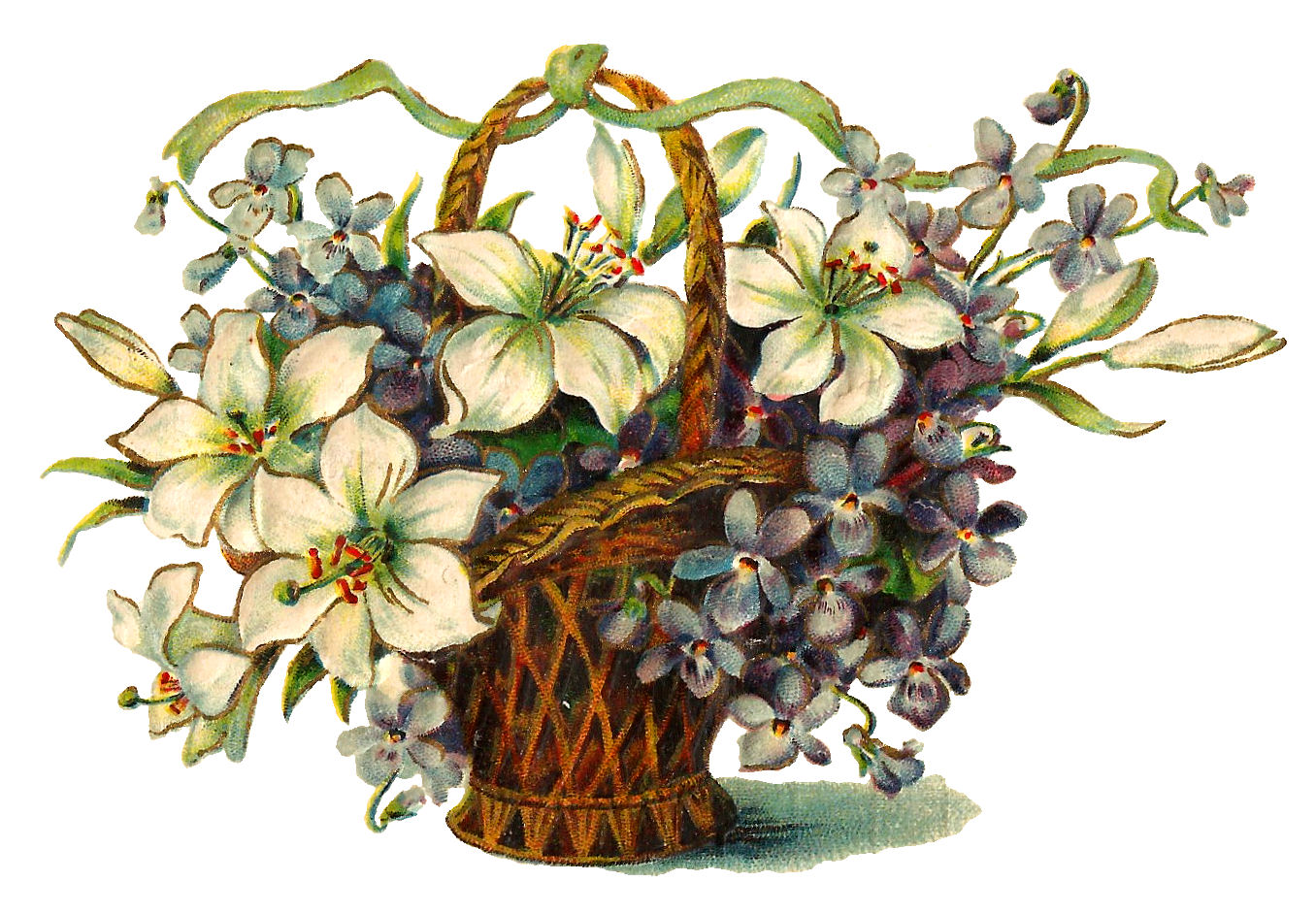 Antique Wildflower Image Free Flower Basket Digital Download Printabl