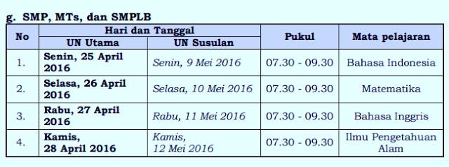 Jadwal Ujian Nasional SMP dan yang sederajat tahun 2016