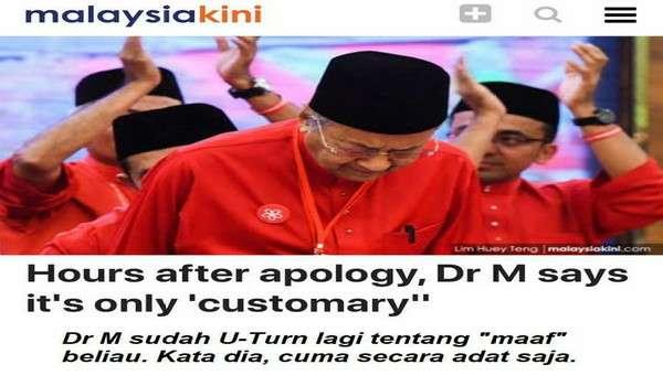 [Video] Mahathir U-Turn Lagi, Minta Maaf Hanya Adat Orang Melayu