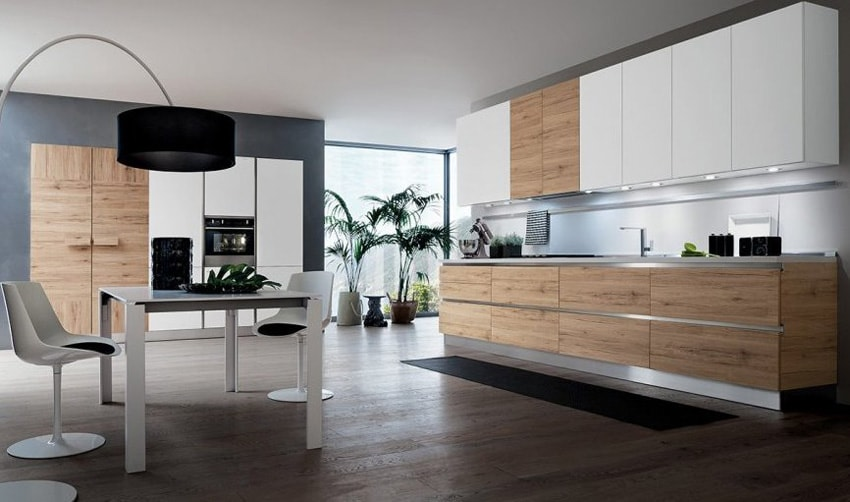 30 ideas de cocinas en blanco y madera i cocinas con for Cocinas blancas y grises fotos