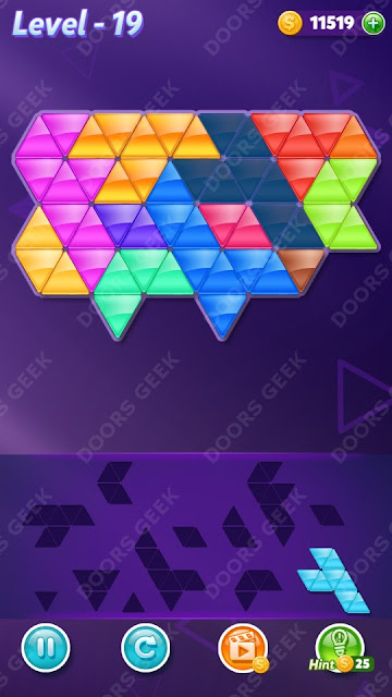 Block! Triangle Puzzle 12 Mania Level 19 Solution, Cheats, Walkthrough for Android, iPhone, iPad and iPod