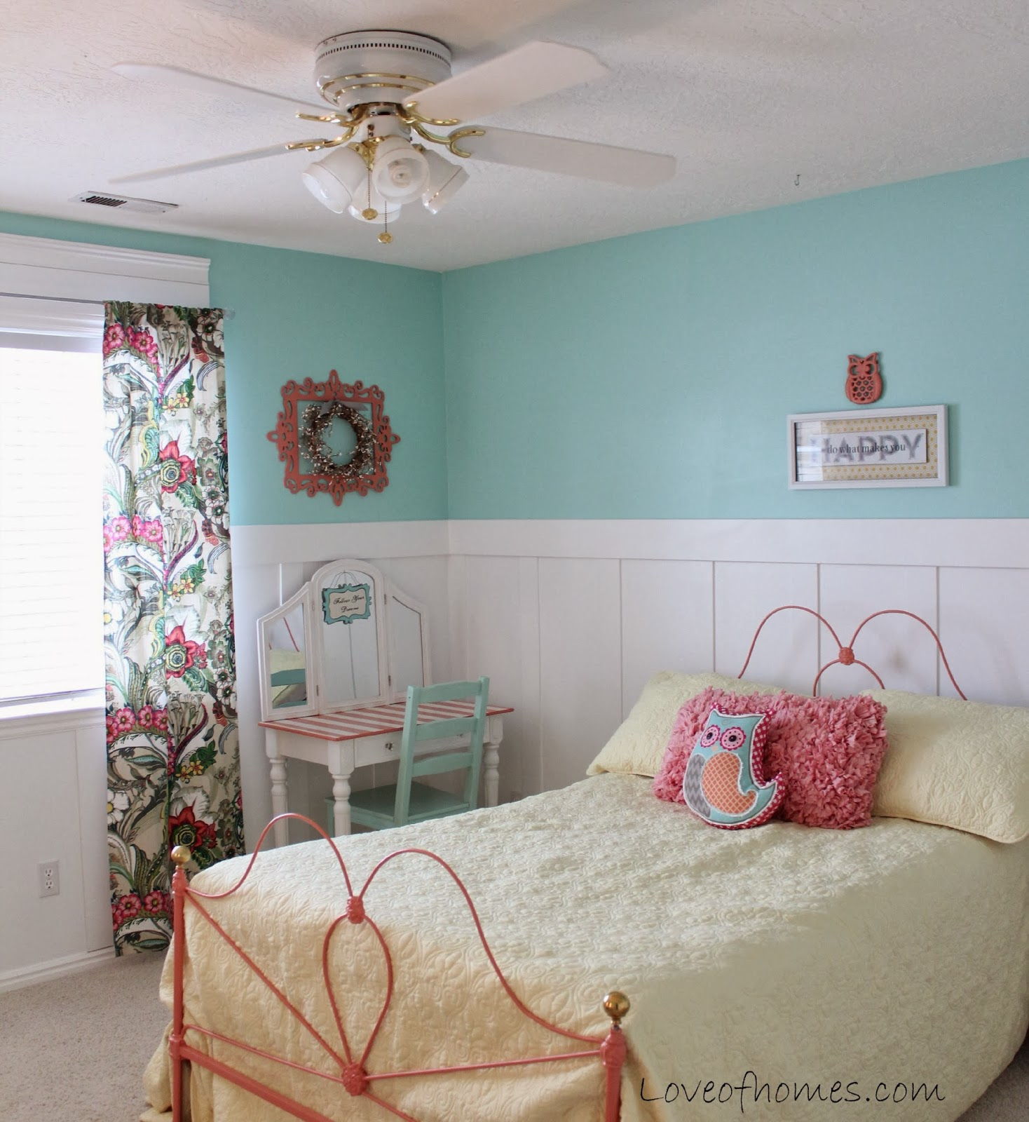 LOVE OF HOMES: Coral, Yellow & Blue Girl's Bedroom