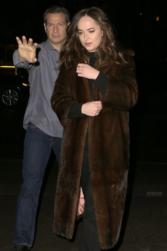 Dakota Johnson and her shades of brown mink .