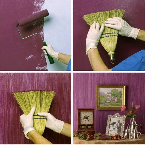 Pintar a casa com vassoura
