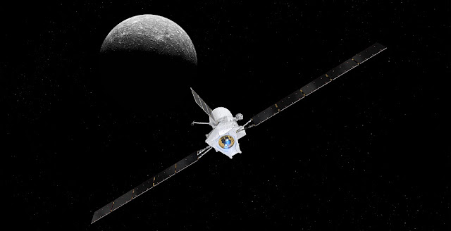 Artist's impression of the BepiColombo spacecraft in cruise configuration, with Mercury in the background. Credit: spacecraft: ESA/ATG medialab; Mercury: NASA/JPL
