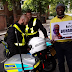 Photos: UK police refuse to arrest Nigerian man who staged a protest in front of the Abuja house in London