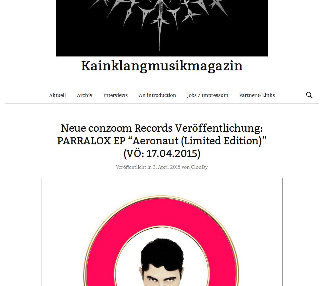Kein Klang Musik Magazin (Germany) PARRALOX - Aeronaut (Limited Edition)