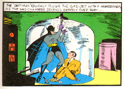 Batman rescues a businessman from gas chamber