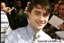 Daniel Radcliffe signing autographs outside Live! with Regis and Kelly