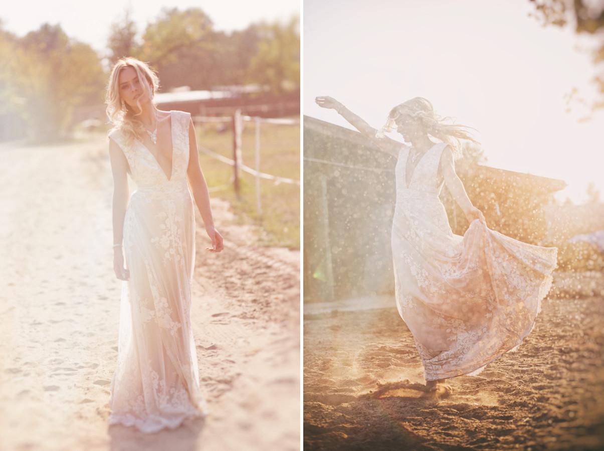 Zwiewna, koronkowa suknia ślubna z koronkami.
