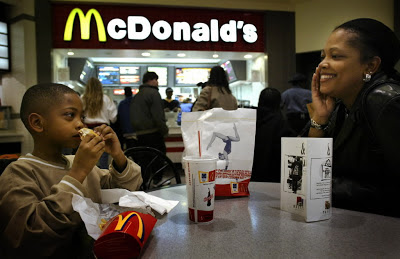 African Americans Eating Fastfood at McDonalds