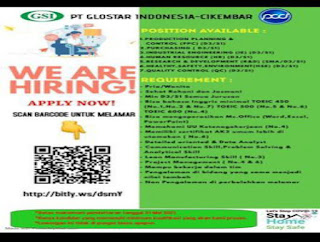 Lowongan Kerja PT Glostar Indonesia Cikembar Sukabumi (Blok A)