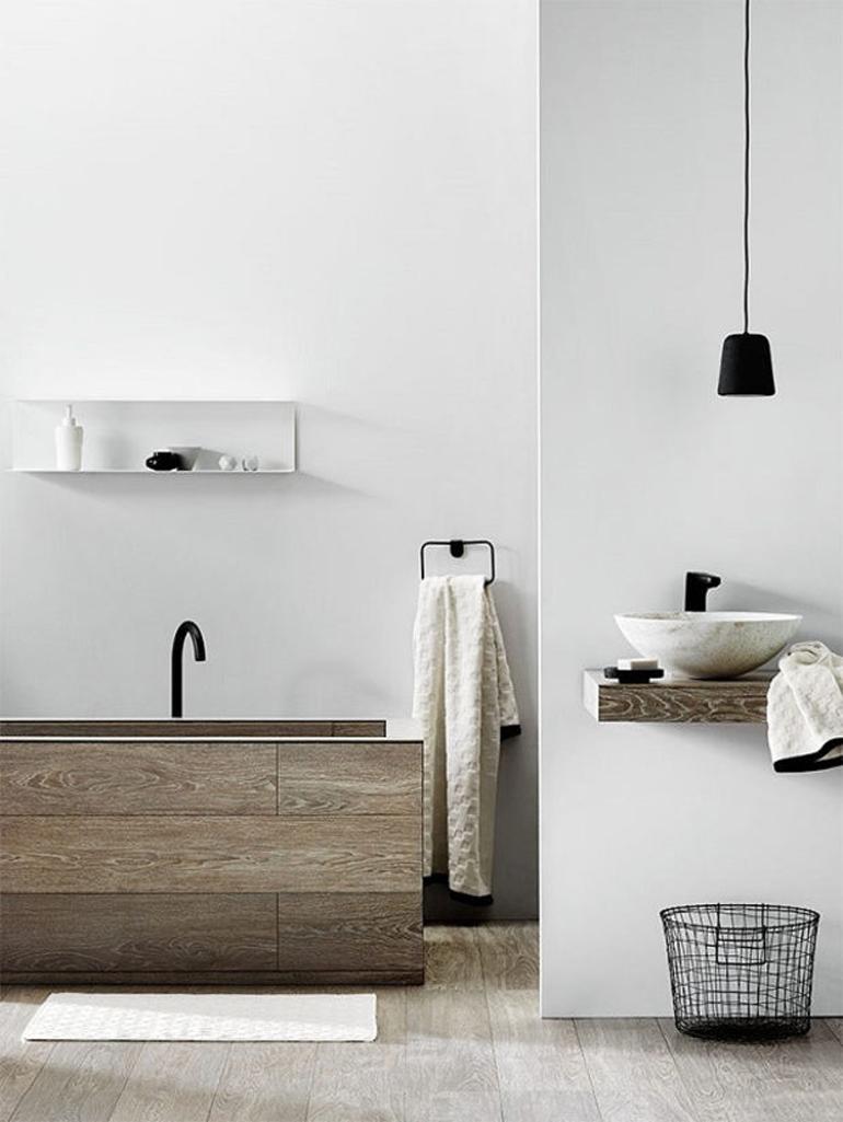 bañera forrada madera