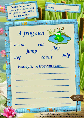 frog song for children action verbs worksheets