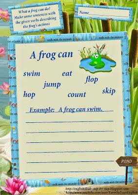 frog vocal for children activity verbs worksheets