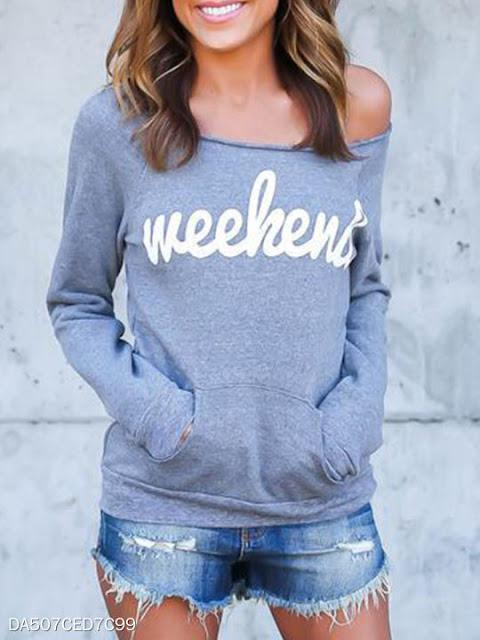 Open Shoulder Kangaroo Pocket Letters Sweatshirts