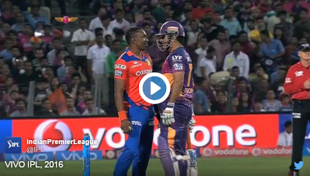The Friday's match between Rising Pune Supergiants and Gujarat Lions saw intersting rivlray between Mahendra Singh Dhoni and Dwayne Bravo, former CSK mates.  Dhoni tried to sweep a Bravo delivery and tried to steal a quick single. Bravo's strong follow follow through prevented that and brought both of them face to face.