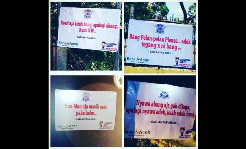 Spanduk lucu ala Satlantas Polres Aceh Besar