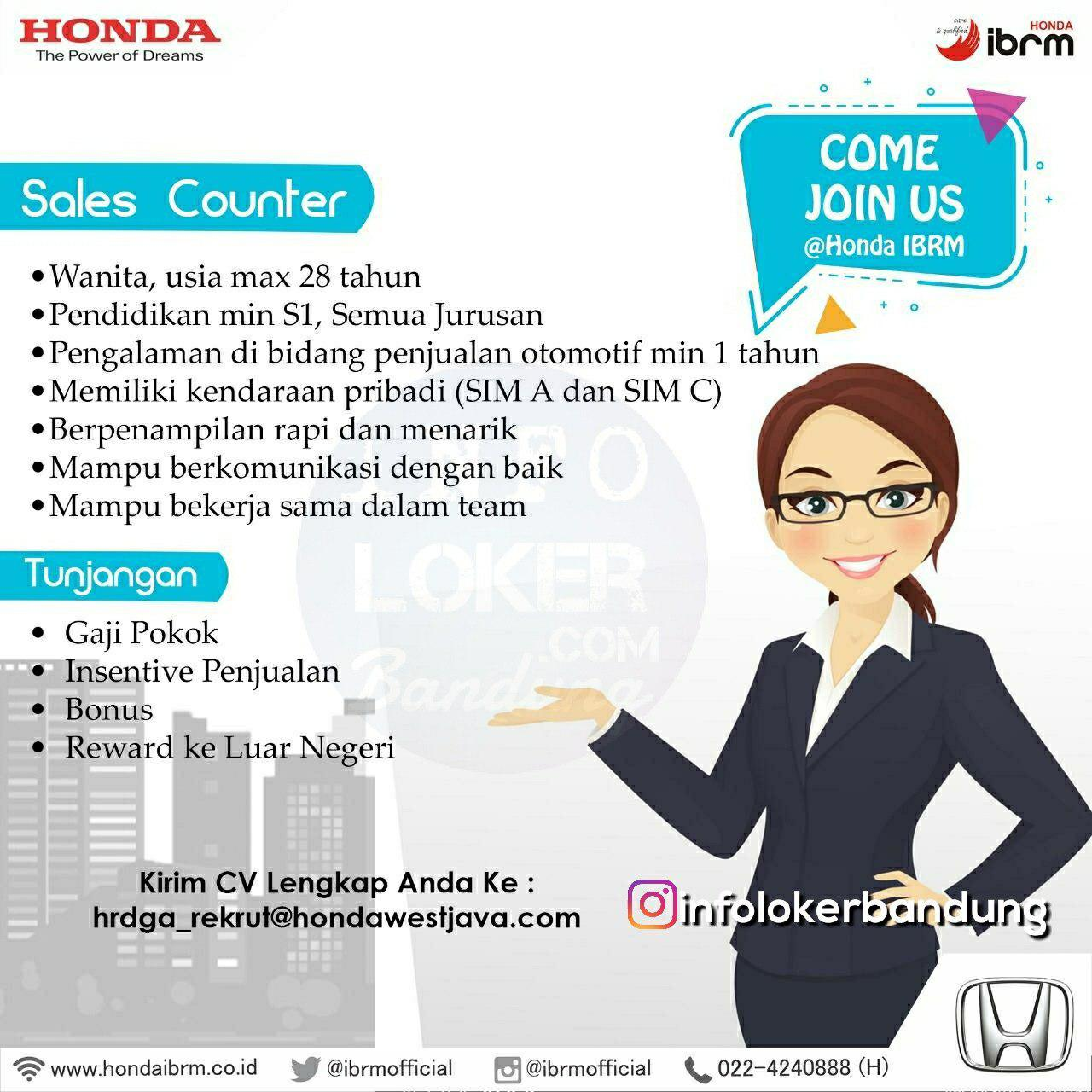 Lowongan Kerja Honda IBRM Bandung Desember 2018