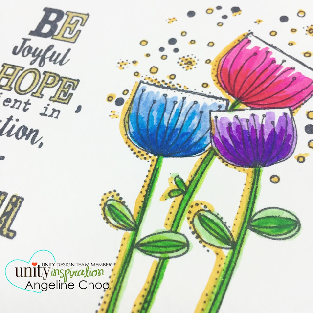 Unity Stamp: DT Tuesday with Angeline #unitystampco #scrappyscrappy #bible #bibleart #quicktipvideo #koibrushpen #brushpen #coloring #flowers