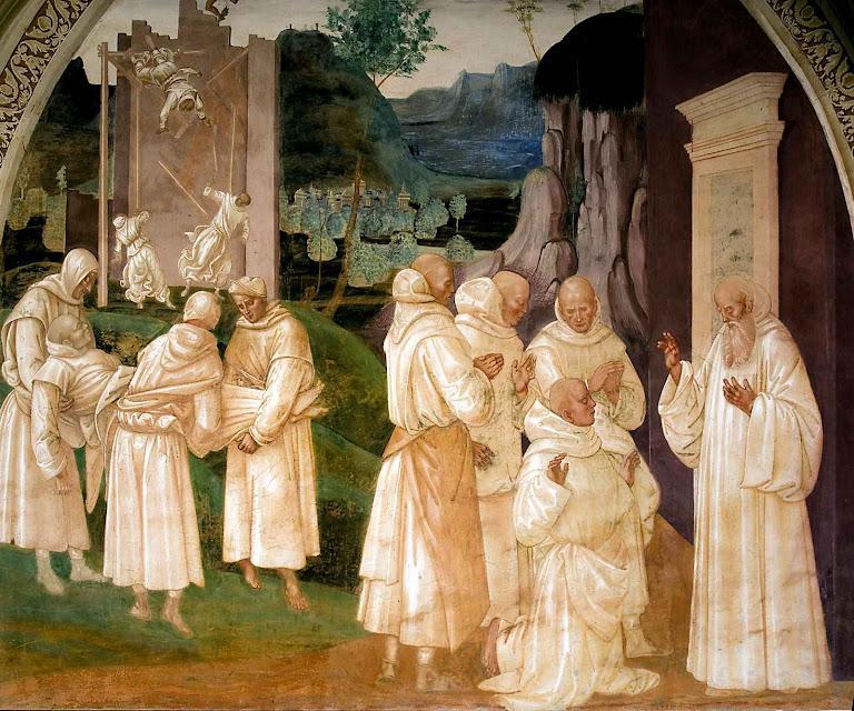 São Bento ressuscita um jovem monge falecido, Luca Signorelli, Monte Olivetto Maggiore.