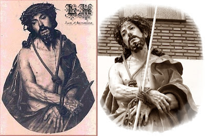 Estampa de Ecce Homo de la antigua carcel de mujeres de Madrid y fotografía de Nuesto Padre Jesus de la Misericordia en León. Foto G. Márquez.