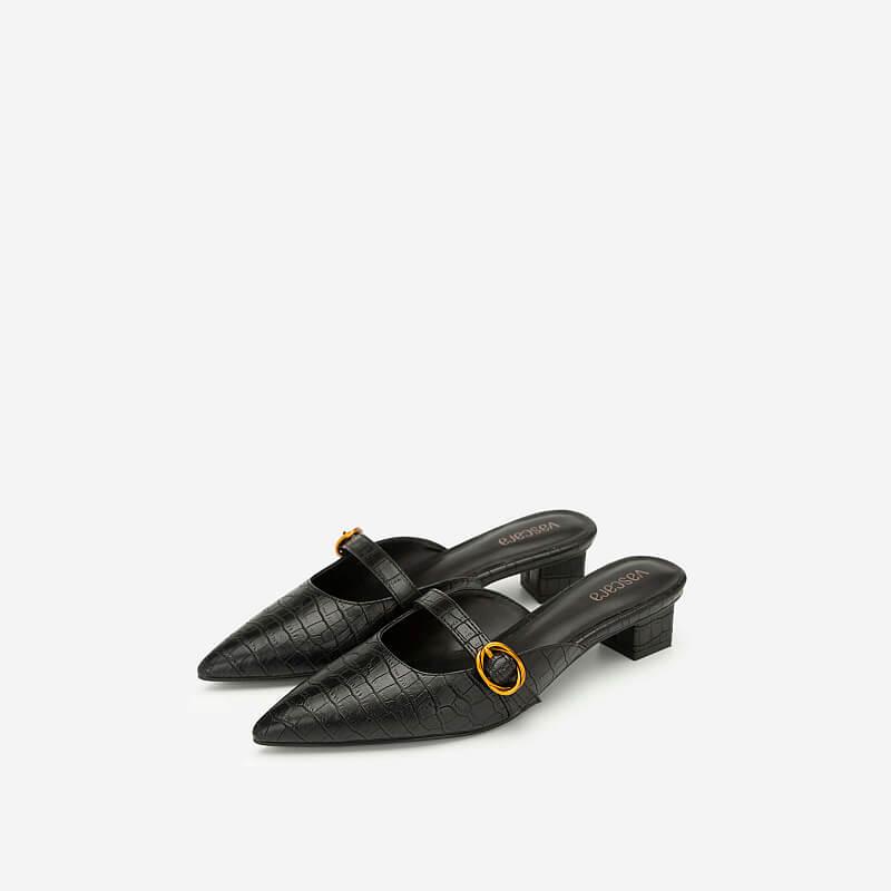 Hài Mule Mũi Nhọn Vân Da Cá Sấu - GNN 0139 - Màu Đen