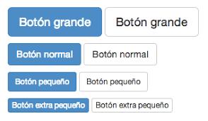 Botones para indicar diferentes tamaños de texto