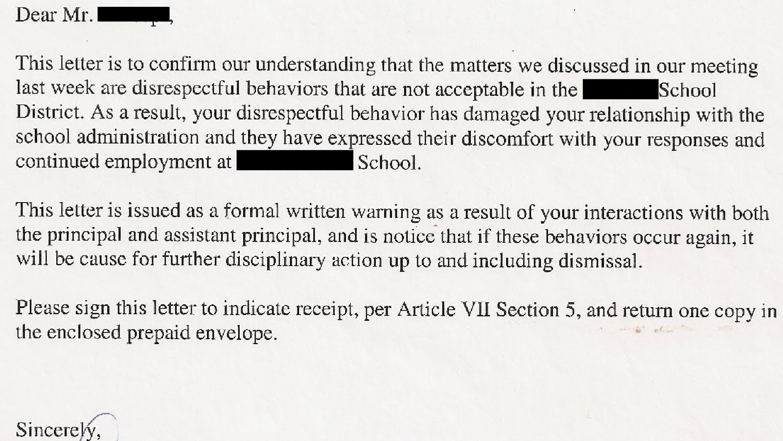 Sample Disciplinary Letter Gross Disrespect on sample disciplinary letters for performance, sample disciplinary write up letter, letter of reprimand for disrespect, sample disciplinary letter for misconduct,