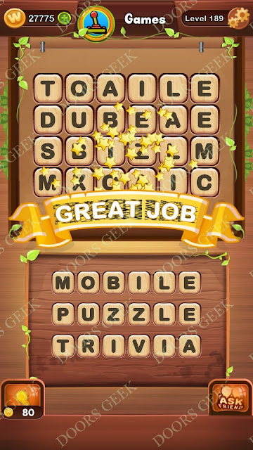 Word Bright Level 189 Answers, Cheats, Solutions, Walkthrough for android, iphone, ipad and ipod