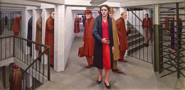 a George Tooker painting of people in an underground subway