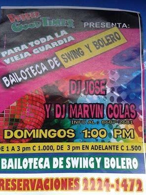 afiche bailoteca de swing y bolero, dj jose, dj marvin colas,pepers zapote
