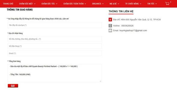 Xác nhận đặt hàng tại www.huynhgia.biz hàng xách tay từ Mỹ