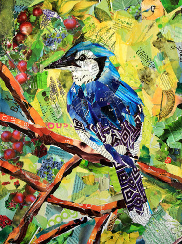 blue jay paper collage
